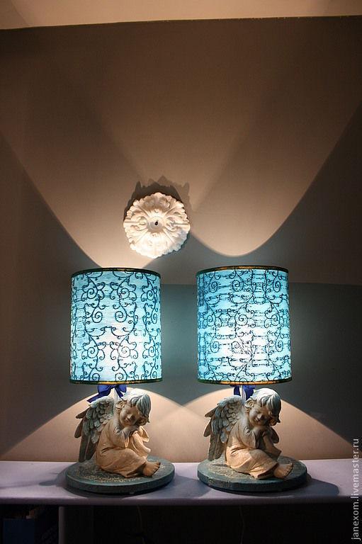 Освещение ручной работы. Ярмарка Мастеров - ручная работа. Купить голубые ангелочки. Handmade. Голубой, бант, ночной город, спальня