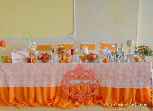 Свадебные аксессуары ручной работы. Ярмарка Мастеров - ручная работа. Купить оформление свадебного торжества  АПЕЛЬСИНОВАЯ СВАДЬБА. Handmade. Оранжевый