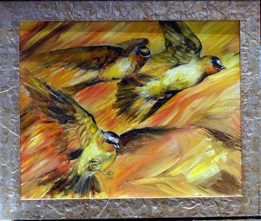 """Животные ручной работы. Ярмарка Мастеров - ручная работа. Купить Картина маслом """" Птицы. Замерший полет"""". Handmade. Комбинированный"""