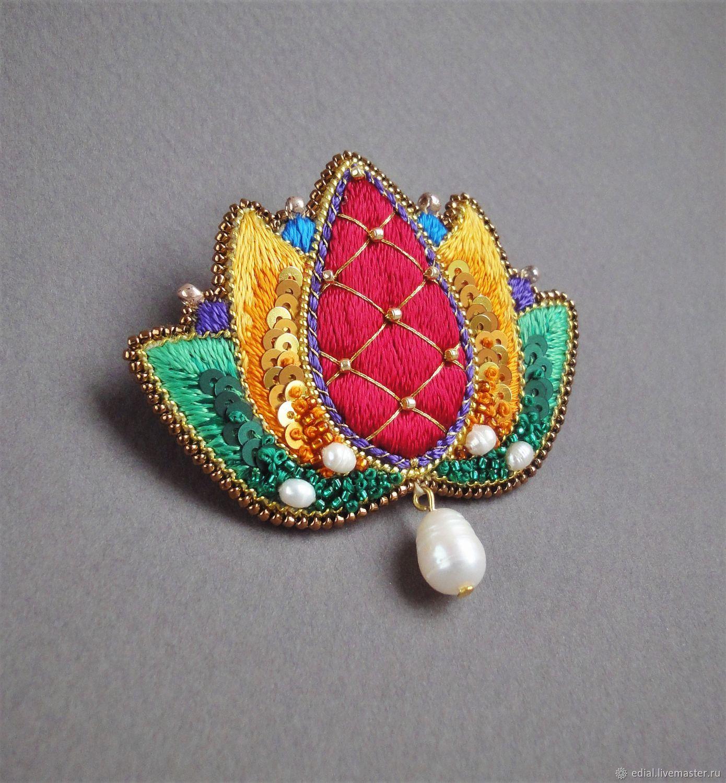 Brooch Beads: Brooch LOTUS Beads, Sequins, Silk, Straw, Pearls