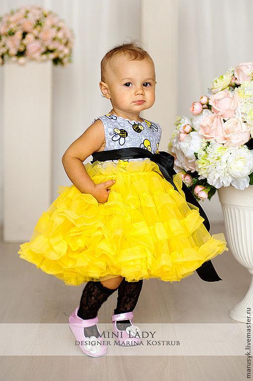 Одежда для девочек, ручной работы. Ярмарка Мастеров - ручная работа. Купить платье Пчелка. Handmade. Желтый, платье для выпускного