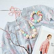 Одежда handmade. Livemaster - original item Set slingobusy and teething toy mint-pink with geometric beads. Handmade.