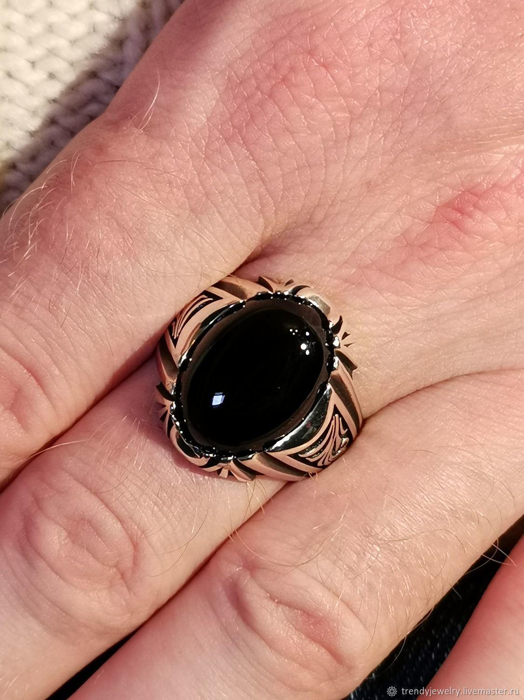 Черный оникс перстень серебряный овал печатка кольцо из серебр – заказать на Ярмарке Мастеров – JZ0DSRU | Перстень, Москва