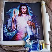 """Схемы для вышивки ручной работы. Ярмарка Мастеров - ручная работа Премиум набор вышивки бисером """"Иисус Христос Свечение"""". Handmade."""