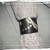 Украшения ручной работы. Ярмарка Мастеров - ручная работа Браслет  из кожи Большая стрекоза. Handmade.