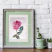 Картины и панно handmade. Livemaster - original item Watercolor. Watercolor miniature. Flowers. Rose. Handmade.