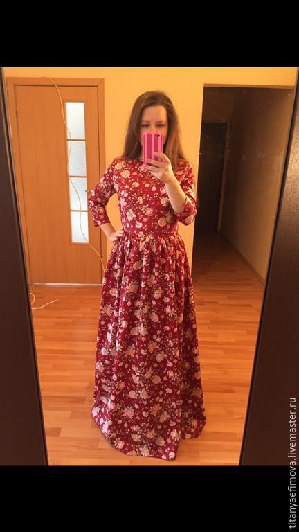 Платья ручной работы. Ярмарка Мастеров - ручная работа. Купить Платье Бордо темно-красный с рукавами на осень на зиму. Handmade.