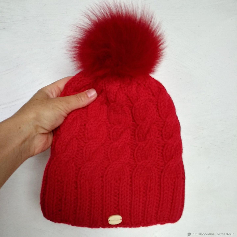 2ba8769bd2e534 Red hat, red POM-POM hat lined winter hat – shop online on ...
