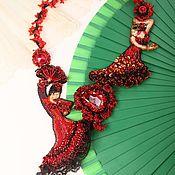 """Украшения ручной работы. Ярмарка Мастеров - ручная работа Вышитое колье """"Volare"""" с танцовщицами фламенко. Handmade."""