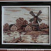 """Картины и панно ручной работы. Ярмарка Мастеров - ручная работа Вышитая картина """"Старая мельница"""". Handmade."""