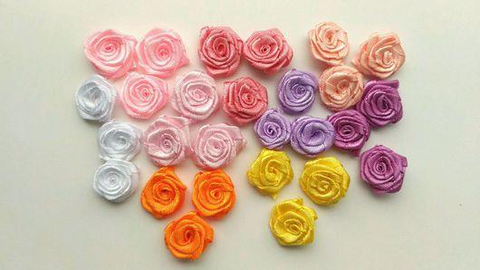 Для украшений ручной работы. Ярмарка Мастеров - ручная работа. Купить Розочки из атласных лент. Handmade. Розы, розы для украшения