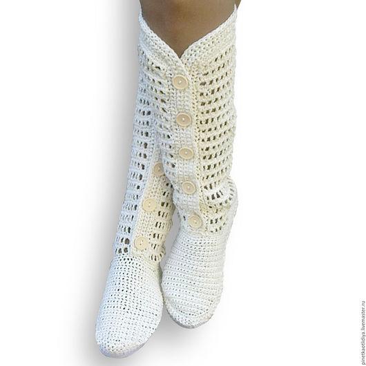 Обувь ручной работы. Ярмарка Мастеров - ручная работа. Купить Вязаные женские сапожки.. Handmade. Белый, сапожки ручной работы