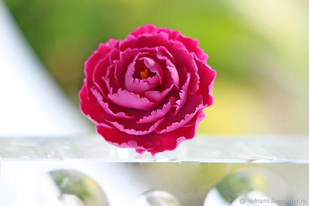 кольцо с пионом из полимерной глины, цветы из полимерной глины