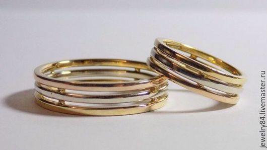 """Кольца ручной работы. Ярмарка Мастеров - ручная работа. Купить Кольца """"триада"""". Handmade. Красное золото, белое золото"""