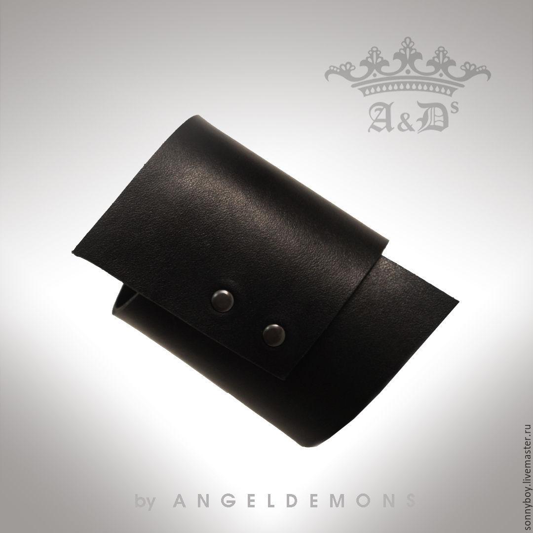 Браслет из кожи - Asymmetrical Black Bracelet, Браслеты, Москва, Фото №1