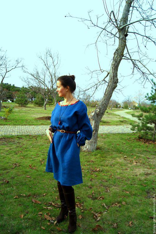 Платья ручной работы. Ярмарка Мастеров - ручная работа. Купить Платье в стиле бохо. Handmade. Тёмно-синий, женская одежда