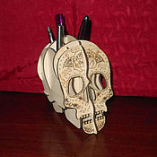 Канцелярские товары handmade. Livemaster - original item Stand for pencils and pens Skull. Handmade.