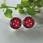 Украшения handmade. Livemaster - original item Earrings silver plated Pea red. Handmade.