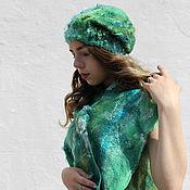 Аксессуары handmade. Livemaster - original item Hat and scarf Emerald. Handmade.