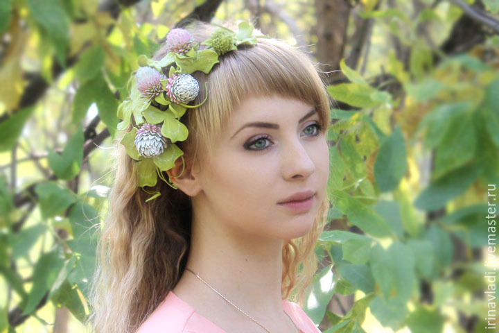 Decoration handmade leather headband with leather flowers pink clover.decoration leather leaf clover headband with flowers, headband, tiara,tiara with pink flowers clover