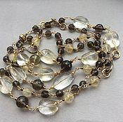 Украшения handmade. Livemaster - original item necklace with pendant breath of autumn citrine and rauchtopaz. Handmade.