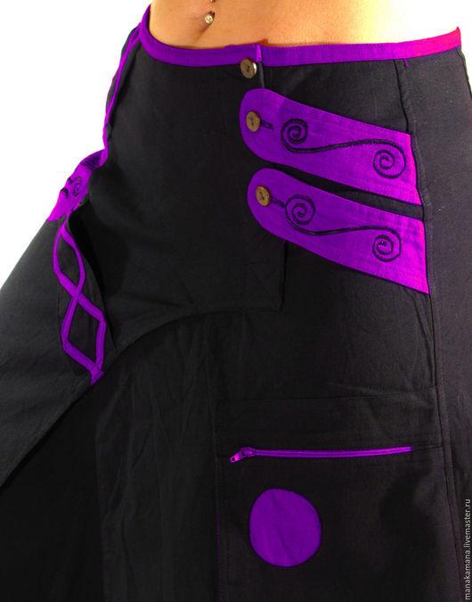 """Этническая одежда ручной работы. Ярмарка Мастеров - ручная работа. Купить Черные Шаровары с фиолетовым карманом  """"Самурай"""". Handmade. Черный"""