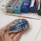 Сувениры и подарки handmade. Livemaster - original item Car keychain made of natural wood. Hand painted. Handmade.