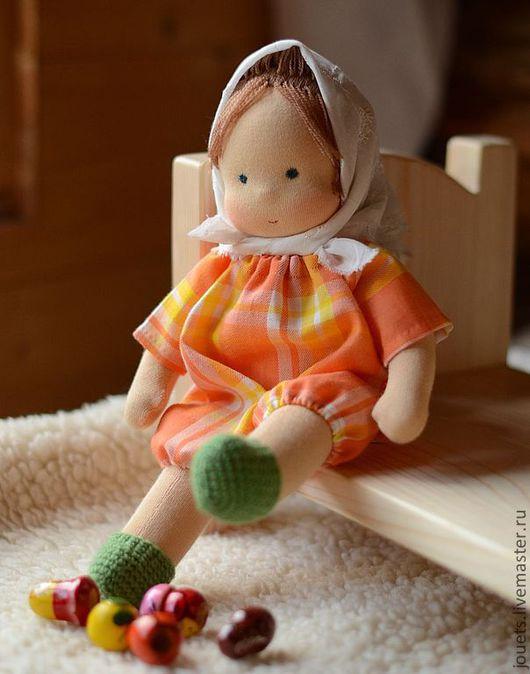 Вальдорфская игрушка ручной работы. Ярмарка Мастеров - ручная работа. Купить Яселька, вальдорфская кукла 30см. Handmade. Оранжевый