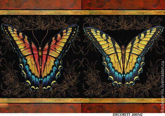 Декупаж и роспись ручной работы. Ярмарка Мастеров - ручная работа. Купить Яркие бабочки (D100542) - рисовая бумага, А4. Handmade.