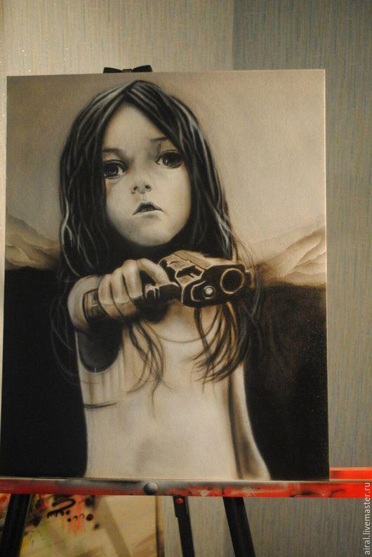 Люди, ручной работы. Ярмарка Мастеров - ручная работа. Купить картина Девочка с пистолетом. Handmade. Чёрно-белый, картина в подарок