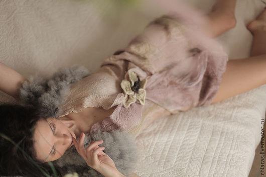 """Платья ручной работы. Ярмарка Мастеров - ручная работа. Купить туника """"сон в летнюю ночь"""". Handmade. Бледно-розовый, нунофелт"""