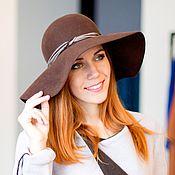 Аксессуары handmade. Livemaster - original item Wide-brimmed hat Classic. Color Chocolate. Handmade.
