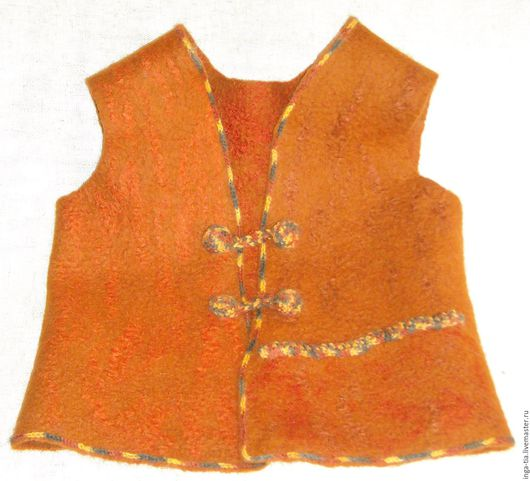Одежда для мальчиков, ручной работы. Ярмарка Мастеров - ручная работа. Купить Жилет валяный детский с карманом. Handmade. Рыжий