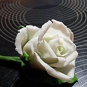 """Свадебный салон ручной работы. Ярмарка Мастеров - ручная работа бутоньерка из холодного фарфора """"Белая роза"""". Handmade."""