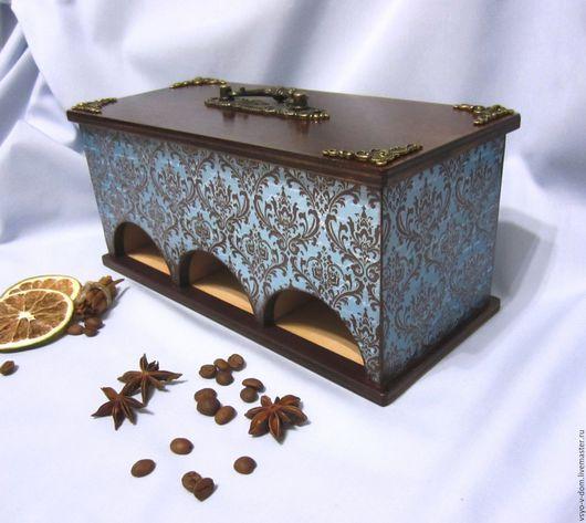Кухня ручной работы. Ярмарка Мастеров - ручная работа. Купить АристократЪ Короб для чайных пакетиков.. Handmade. Голубой