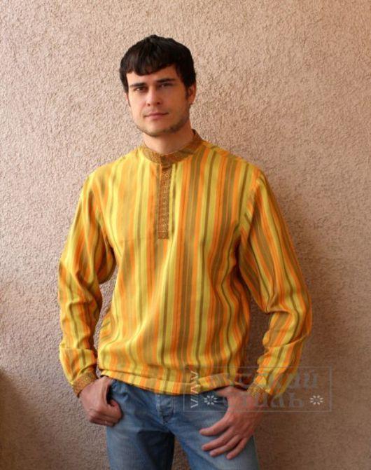 """Для мужчин, ручной работы. Ярмарка Мастеров - ручная работа. Купить Рубаха  """"Княжеская"""". Handmade. Желтый, русский стиль"""