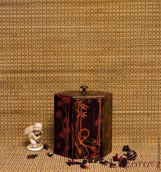 """Шкатулки ручной работы. Ярмарка Мастеров - ручная работа. Купить Чайная шкатулка """"Танец цапли"""" -. Handmade. Черный, подарок"""