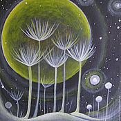 Картины и панно ручной работы. Ярмарка Мастеров - ручная работа Картина  Цветы на  Марсе черная звезда 3  black star бумага    акрил. Handmade.