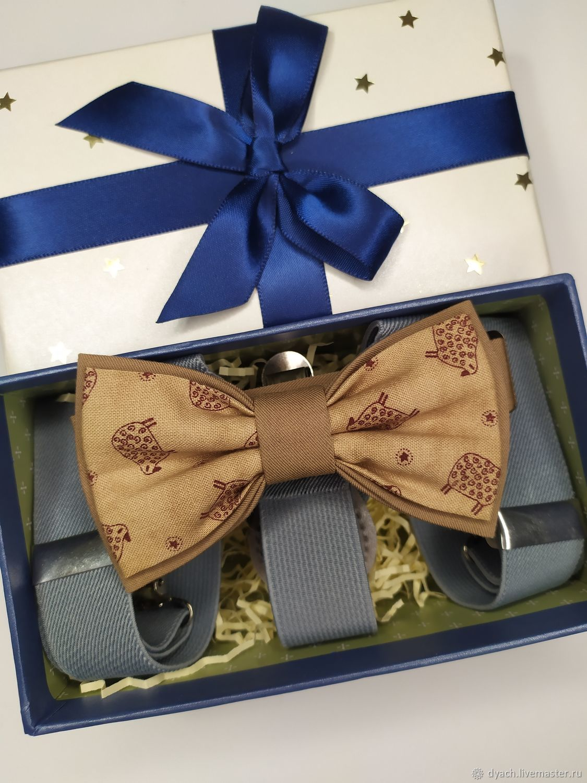Детский комплект галстук-бабочка и подтяжки Овечки, Бабочки, Москва,  Фото №1