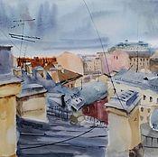Картины и панно handmade. Livemaster - original item Watercolor painting of Peter Roof (steel ocher cityscape). Handmade.