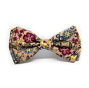 Аксессуары handmade. Livemaster - original item Bow tie beige with flowers. Handmade.
