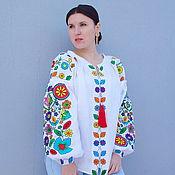 handmade. Livemaster - original item Blouse Embroidered Vyshyvanka Linen. Handmade.