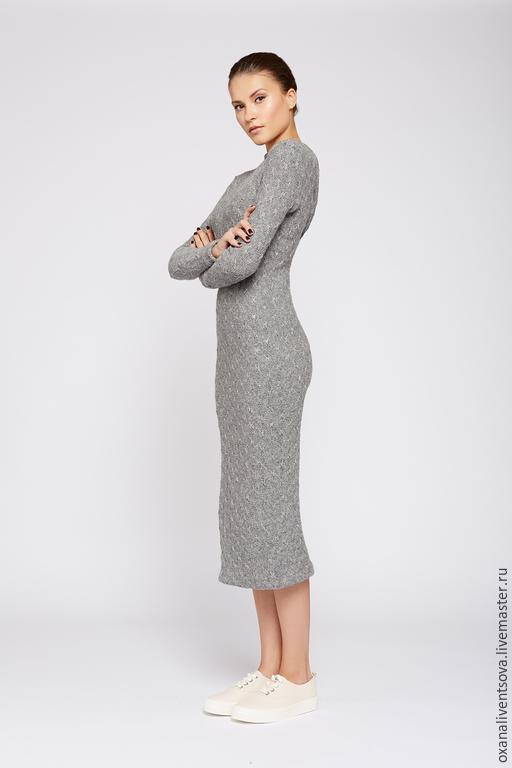 Платья ручной работы. Ярмарка Мастеров - ручная работа. Купить Трикотажное платье с драпировкой по спинке. Handmade. Серый, платье теплое