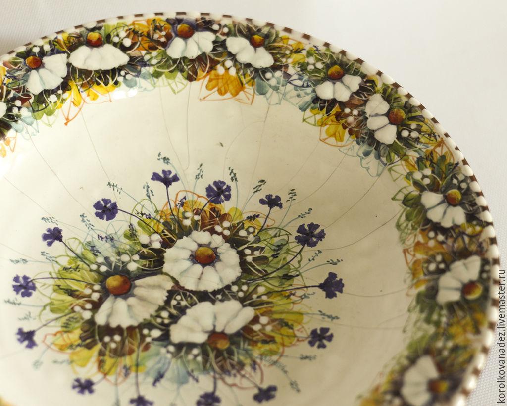 Керамика. тарелка миска Ромашки (майолика), Тарелки, Смоленск, Фото №1
