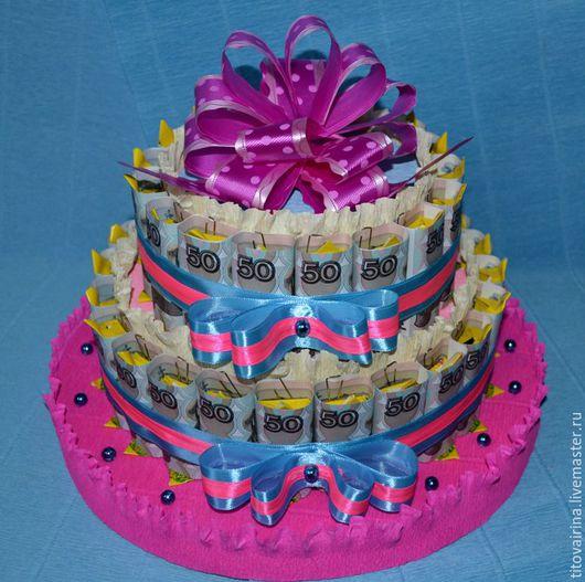 """Букеты ручной работы. Ярмарка Мастеров - ручная работа. Купить Торт из денег """"Юбилейный"""". Handmade. Розовый, подарок на юбилей"""