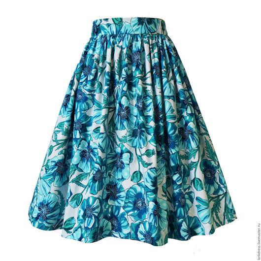 Юбки ручной работы. Ярмарка Мастеров - ручная работа. Купить Юбка Blue Poppies 60 см с карманами. Handmade. Голубой