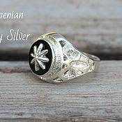 Украшения handmade. Livemaster - original item Men`s Ring Octagram with onyx in 925 silver GV0004. Handmade.