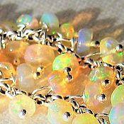 Серьги классические ручной работы. Ярмарка Мастеров - ручная работа Серебряные серьги с опалами серебро натуральный эфиопский опал. Handmade.