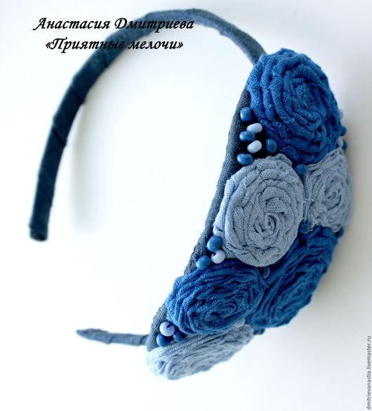 """Диадемы, обручи ручной работы. Ярмарка Мастеров - ручная работа. Купить Ободок  """"Гжель"""". Handmade. Синий, ободок с цветами"""