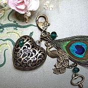 Аксессуары handmade. Livemaster - original item Heart keychain for Bag Keys Backpack Peacock Feather Gift Girl. Handmade.